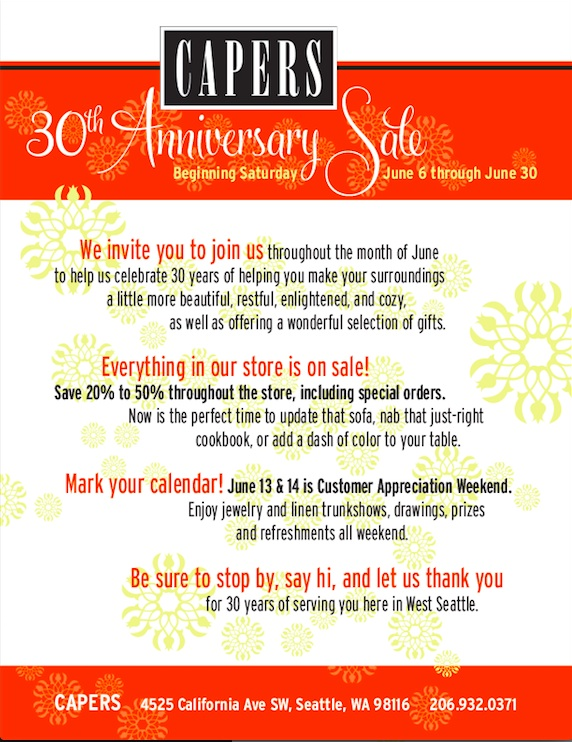 Capers 30th Anniversary Sale