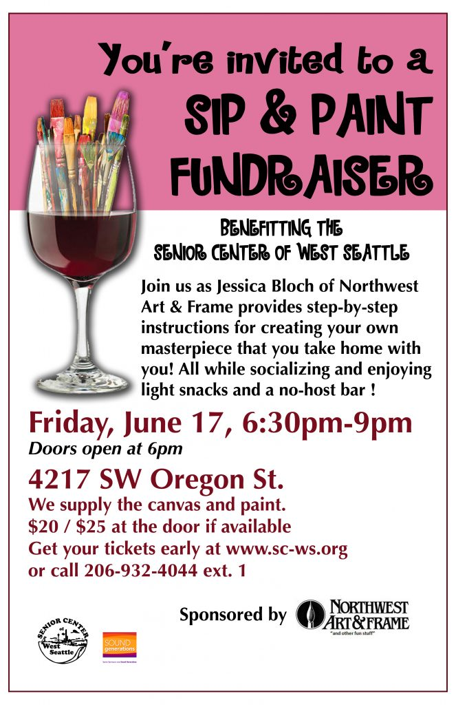 sip and paint fundraiser at senior center west seattle