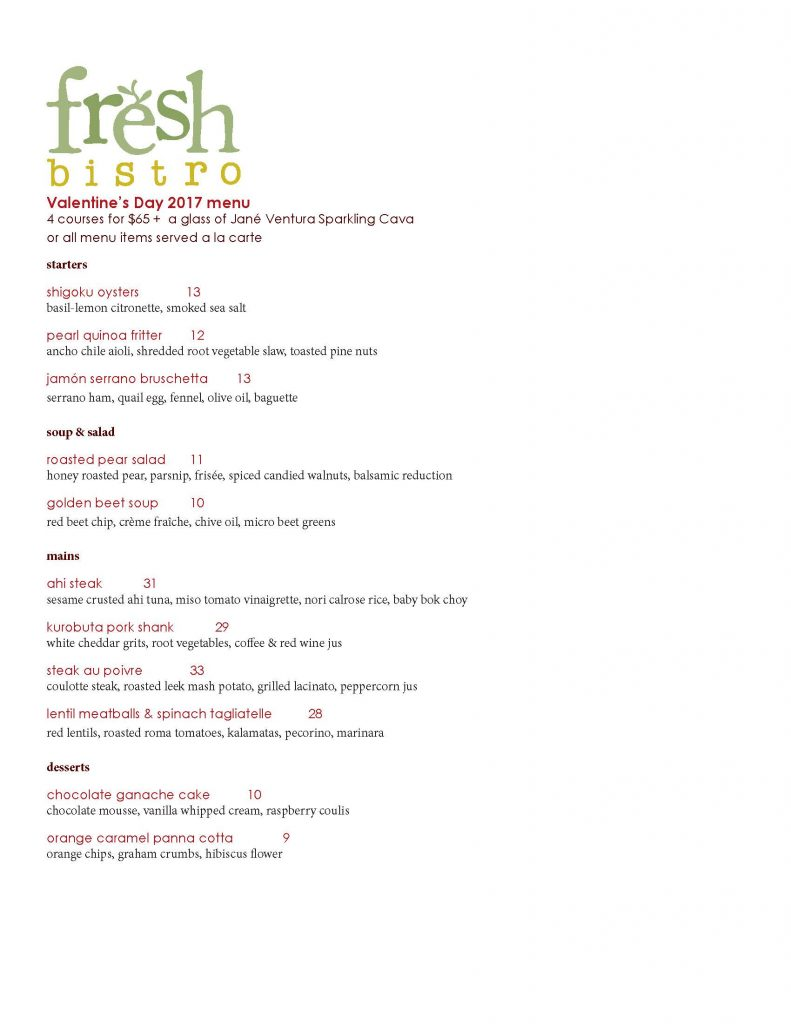 Fresh Bistro Valentines Day Menu