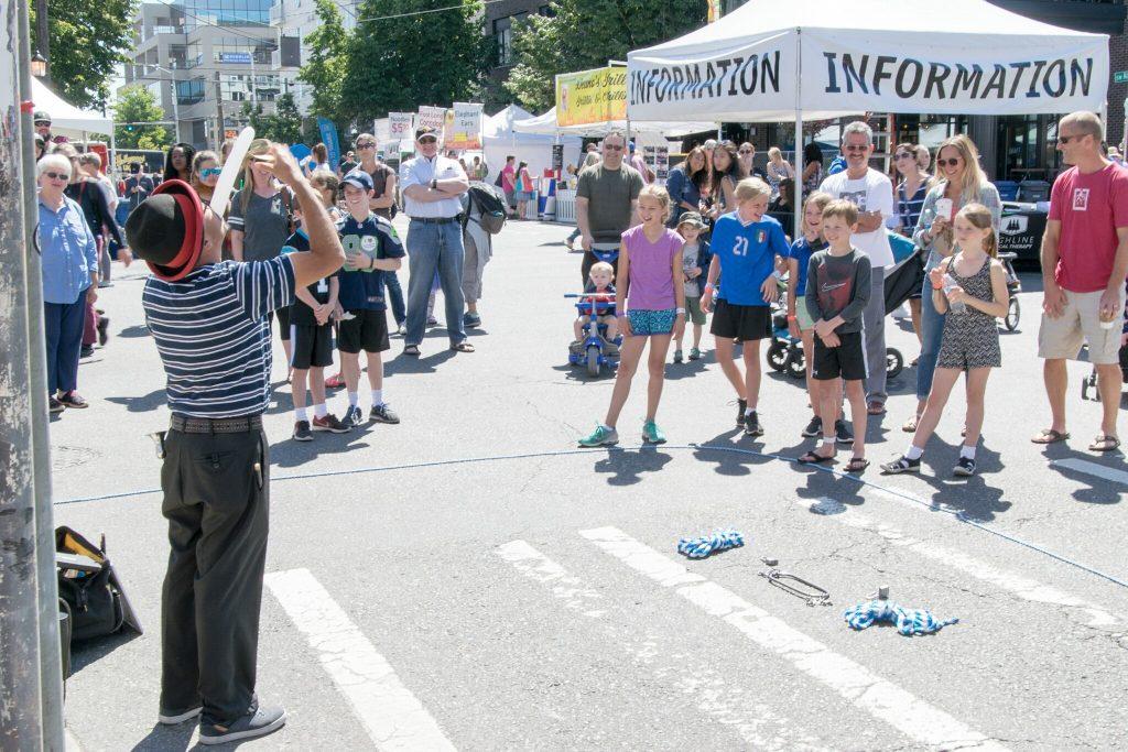 Busking at Summer Fest West Seattle Junction